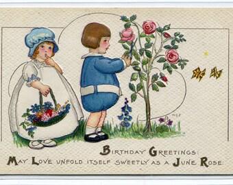 June Rose Boy Girl Happy Birthday Greetings Margaret Evans Price MEP artist 1910c postcard
