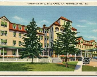 Grand Hotel Lake Placid Adirondack Mountains New York linen postcard