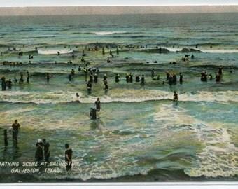 Bathing Beach Scene Galveston Texas 1907c postcard