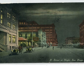 D Street Scene at Night San Diego California 1911 postcard