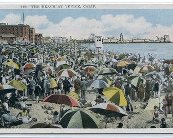 Crowded Beach Scene Venice California 1931 postcard