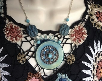 Tantalizing in Turquoise vintage button necklace