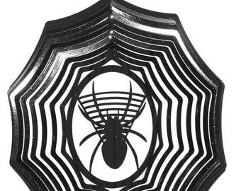Spider Black Swirly Metal Wind Spinner