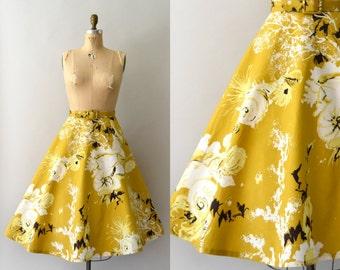 1950s Vintage Skirt - 50s Yellow Cotton Full Skirt & Belt