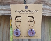 Handmade PEACE Earrings Purple Plum Ceramic Free Spirit Earrings Hippie Flower Child Copper HypoAllergenic Rustic Earthy Lavender Brown