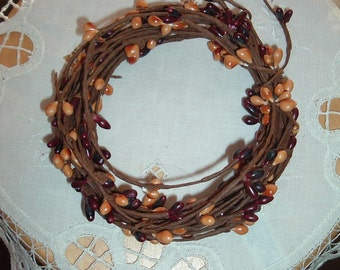 One 18' Pip Berry Rope Garland Dark Burgundy and Gold Mixed Primitive Crafts Folkart Doll Making Wreaths Swags