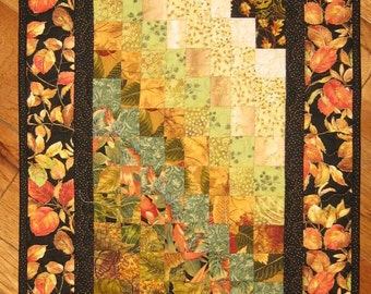 Earth Tones Contemporary Art Quilt Fabric Wall Hanging Brown Rust Green Gold Cream Leaves Watercolor Wall Art Quilt Abstract Art Handmade