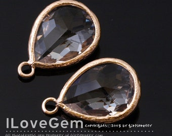 SALE/ 10pcs / P2760 Rose Gold plated, Clear, Framed Glass drop, Framed faceted glass stone, Glass pendant, 12X17mm