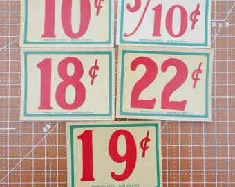 Vintage Store Price Tags set of 5  Lot 12