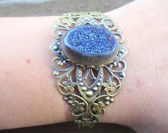 Blue Druzy Crystal Brass Cuff
