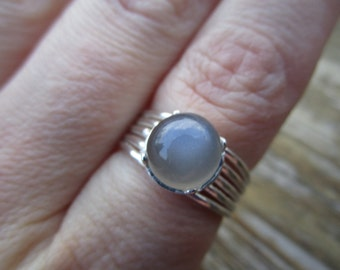 Gray Moonstone Silver Ring SIZE 6.75