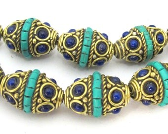 2 beads set - Nepal beads Brass bicone shape beads with turquoise inlay & blue resin inlay - BD905