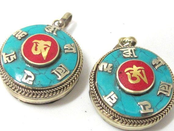 Round Tibetan Ghau prayer box Om pendant with turquoise coral inlay - PM524