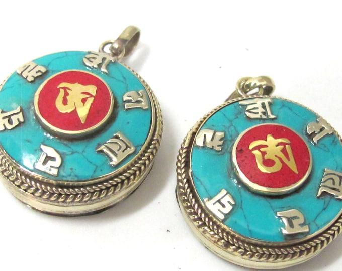 Round Tibetan Ghau prayer box Om pendant with turquoise coral inlay - PM524