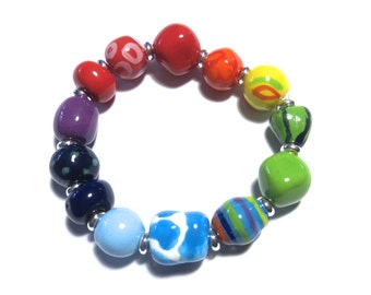 Beaded Bracelet, Kazuri Bangle, Fair Trade, Ceramic Jewellery,  Rainbow Coloured Bracelet