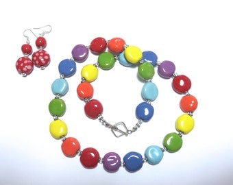 Kazuri Bead Necklace, Fair Trade Beads, Ceramic Necklace, Rainbow Colors, Free Matching Earrings