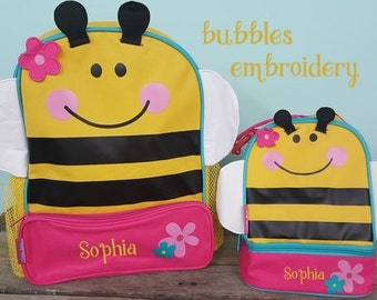 "Stephen Joseph Monogrammed ""Bumblebee"" Preschool Backpack and Lunchbox"