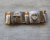 Beautiful gold tone and silver tone inspiration message stretch cuff bracelet. Lot of 1 bracelet.