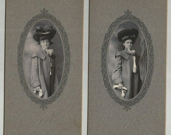 2 Antique Cabinet Cards Ladies in Fancy Hat and Coat, Shorts Studio Roundout N.Y, Long Narrow Cabinet Card, Photo Shout, Victorian
