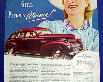 1939 Original Magazine Page for Chrysler sedan car. Indianapolis girl picks a WINNER.  Reverse Side Ireland Canadian Club Whiskey