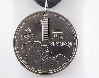 1995 Chinese Coin Necklace, Coin Pendant, Mens Necklace, Womens Necklace, Leather Cord, Vintage