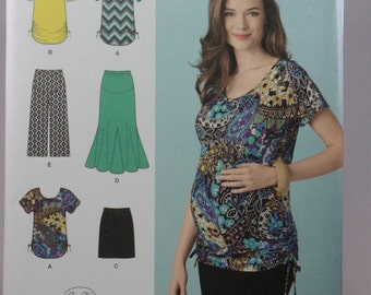 Simplicity 1359, Misses' Maternity Knit Skirts, Gaucho Pants and Tops Sewing Pattern, Sizes XS to XL, New and Uncut