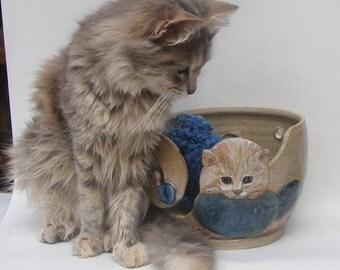Cat Yarn bowl, Stoneware Ceramic yarn bowl, with engraved Kitten