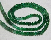 16 Inches Full Strand - AAAA High Quality Shaded - EMERALD - Green  Smooth Polished Rondell Beads  Size 3.5 - 4 mm approx