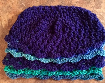 Crocheted Scalloped Layer Beanie Style Hat