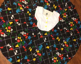 Retro Circle Dress Floral Chalkboard 80s Print Dress Casual 1980s White Black M L