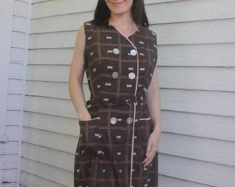 Brown Plaid Dress Gingham Check Print 60s Rockabilly Vintage Cotton M