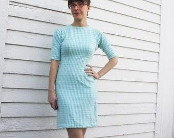 50s Fredericks Hollywood Dress Harlequin White Blue Print Vintage 1950s XS