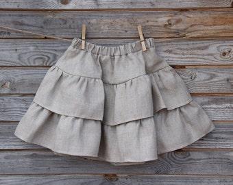 Linen Ruffle Skirt, Flower Girl, Rustic Wedding, Tiered Skirt, Natural  Linen, Country Skirt, Handmade, Custom Sizes