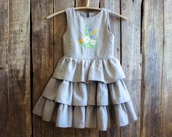 Linen Ruffle Dress, Flower Girl, Gray Linen, Country Dress, Linen dress, Dress, Summer dress Linen clothing, Flower girl dress Party dress