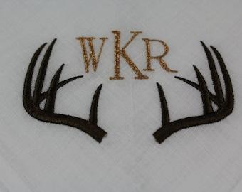 Set of 2 - Monogrammed - Deer - Antler - Embroidered Handkerchiefs - Father - Groomsmen - Wedding Gift - Simply Sweet Hankies