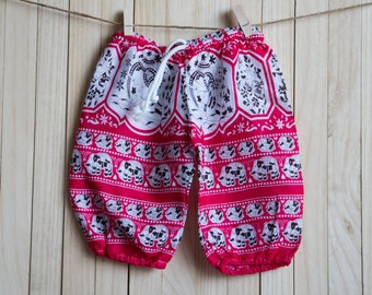 Kid's Red-White Elephant Printed Cotton Pants /Gypsy Pants/Aladdin Pants/Genie Pants/Yoga Pants /Thai Pants Size-S