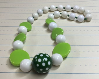 Lime Green and White Chunky Necklace - Vintage Polka Dot Beads - Vintage Beads - Photo Prop - Dress-up - Retro Mod - Annipalooza R74