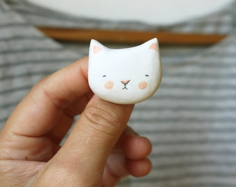Cat brooch -  Animal wearable art - handmade clay pin - made to order