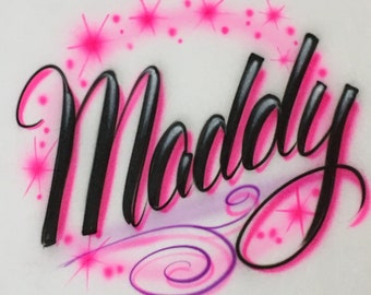 Airbrush Pink Name Design T-Shirt size S M L XL 2X Airbrushed Personalized Shirt