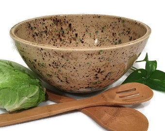 Tall Serving Bowl in Light Brown and Moss Green