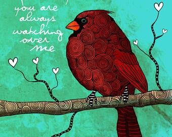 Dreamscape / Cardinal / original illustration ART Print SIGNED / 8 x 10 / NEW