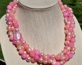 Bubble Gum Pink Pearl Vintage Bead Necklace