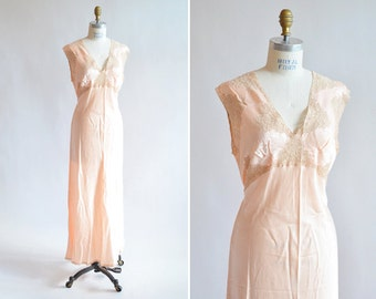 Vintage 1940s peack SILK and lace slip dress