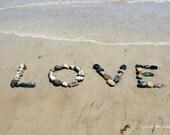 Beach LOVE Wedding Wish Sentiment Photo- romantic word art, beach stones, beach photography, love letters, photo print, destination wedding