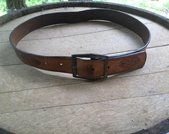 Vintage Leather Floral Print Belt
