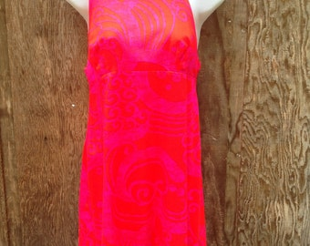 60s Pink Print Go Go Dress // Short and Sassy // Ladies Small