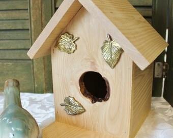 Falling Leaves Bird House - Cedar wood bird house - Bird House
