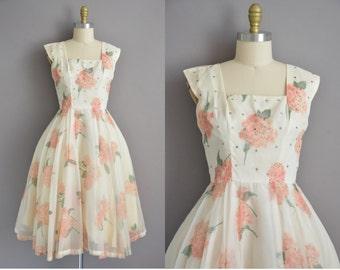 50s pink floral hydrangeas chiffon vintage dress / vintage 1950s dress
