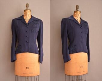 50s beaded bow nipped waist vintage jacket / vintage 1950s jacket