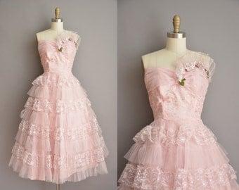 50s pink strapless tulle vintage prom dress / vintage 1950s prom dress